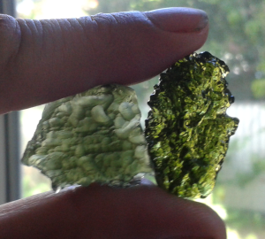 Moldavite - Left real with forest green colour - right fake bright green and shiny like glass