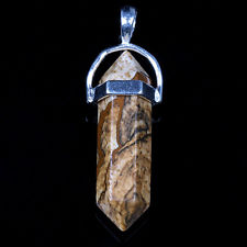 Pictural Jasper Dble Point Pendant for sale click here for more info