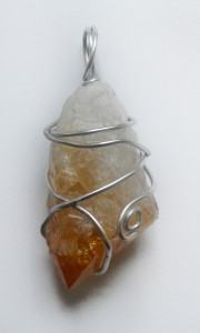 Citrine Hand Wrapped Pendant for sale click here for more info