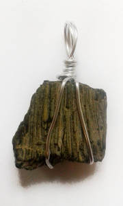 Epidote Fan Hand Wrapped Pendant for sale click here for more info